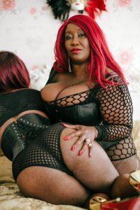 Black Mistress wearing leather in London