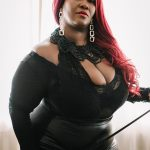 Black Mistress wearing leather in London